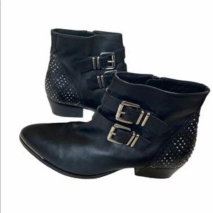 Witchery ankle booties black leather studs 39/US8